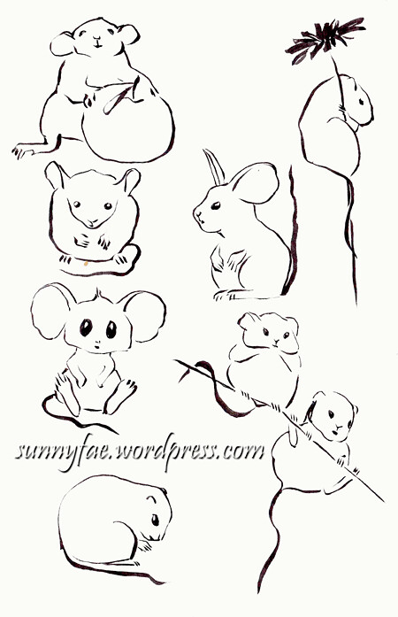 mousy brush pen sketches