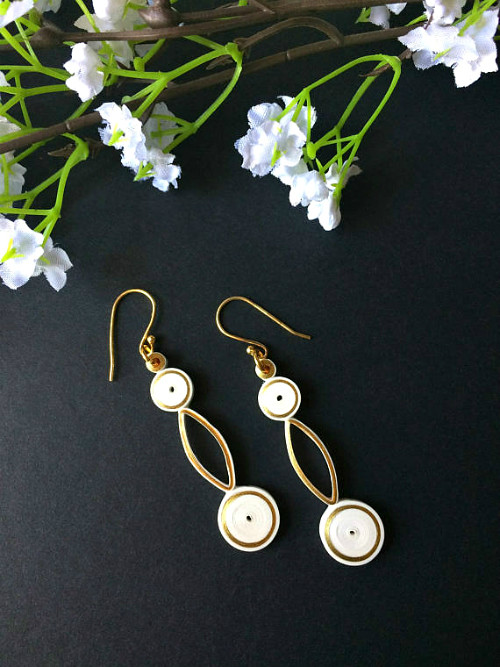 Quilled Gold and Ivory Earrings