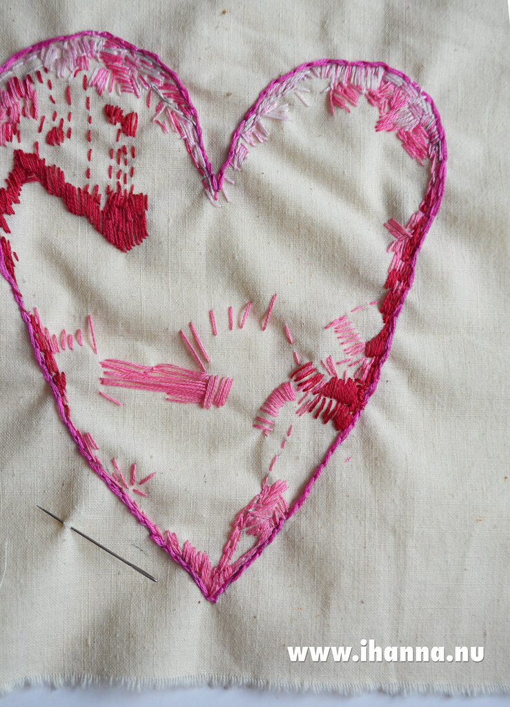 Start of a big Embroidered Heart by iHanna #embroidery #workshop