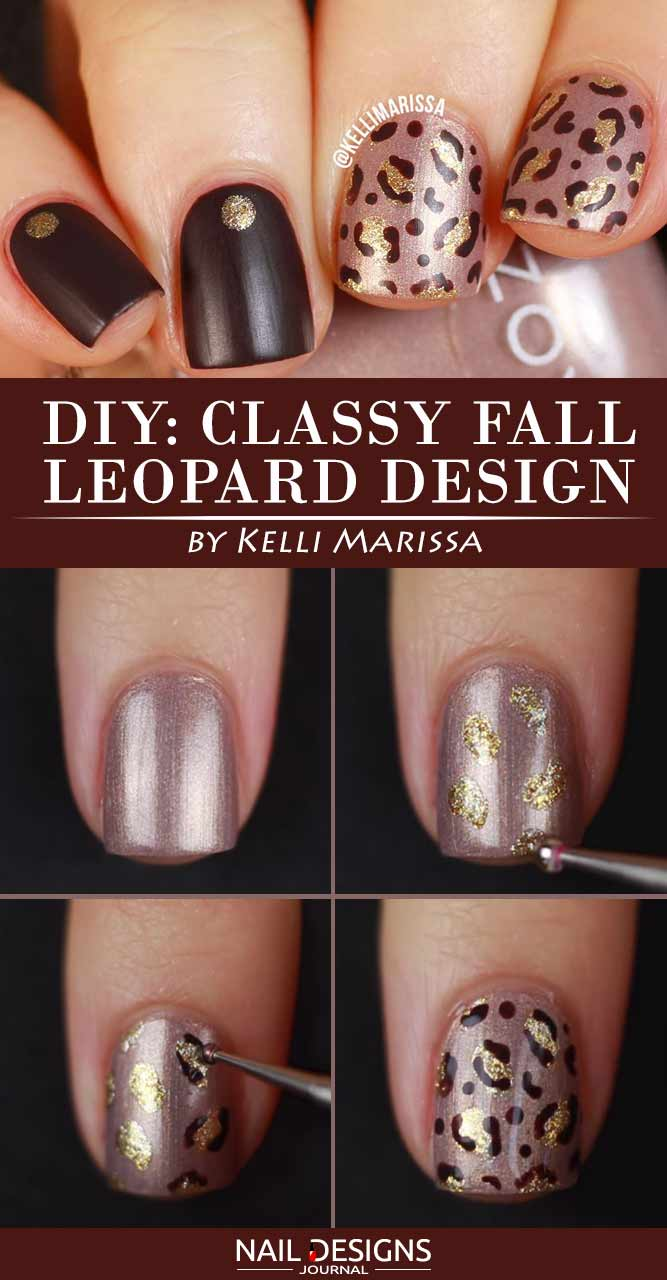 Easy Fall Nail Art with Leaves and Dots - Nails C