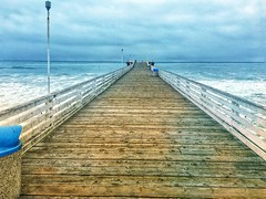 Crystal Pier, closed during a storm. Pacific Beach, San Diego. iPhone, processed.