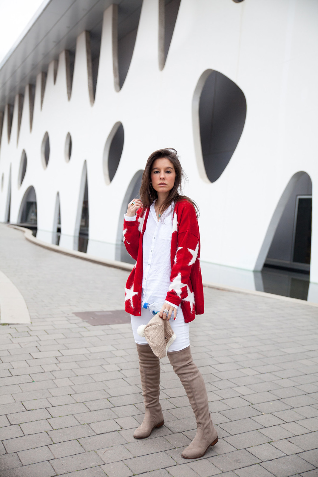 red cardigan supreme nails rüga collection theguestgirl the guest girl stars cardigan style steve madden over the knee shoes fiji water spain barcelona fashion street style fashion week milan london nyc