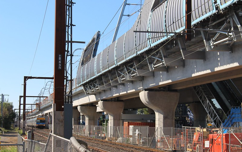 Noble Park skyrail under construction: view from Noble Park station looking towards Heatherton Road