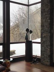 Mahogany Dyed Walnut Wood Veneer Cylinder Pedestal