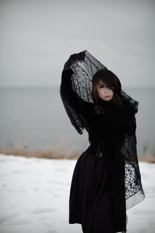 A woman at lakeside