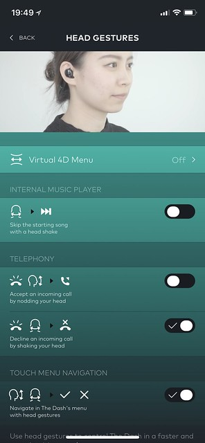Bragi iOS App - Controls - Head Gestures