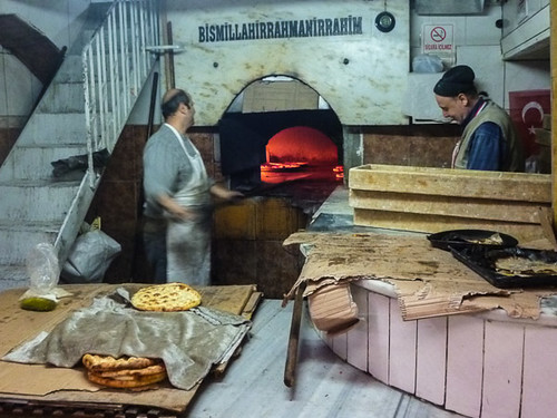 Baking pizzas in Antakya Bazaar
