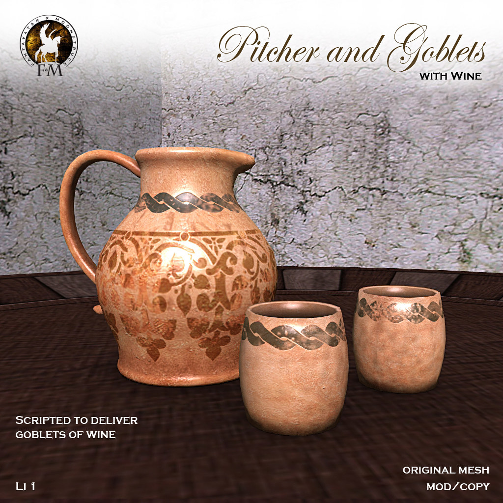 F&M * Pitcher and Goblets * Scripted