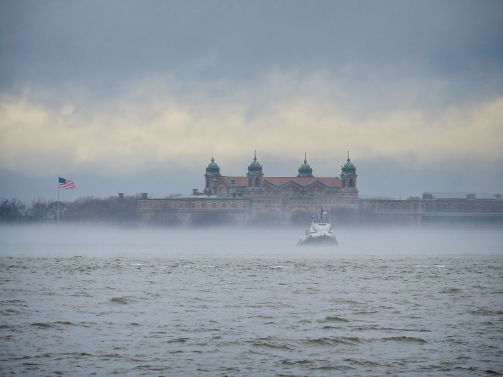 Ellis Island in fog