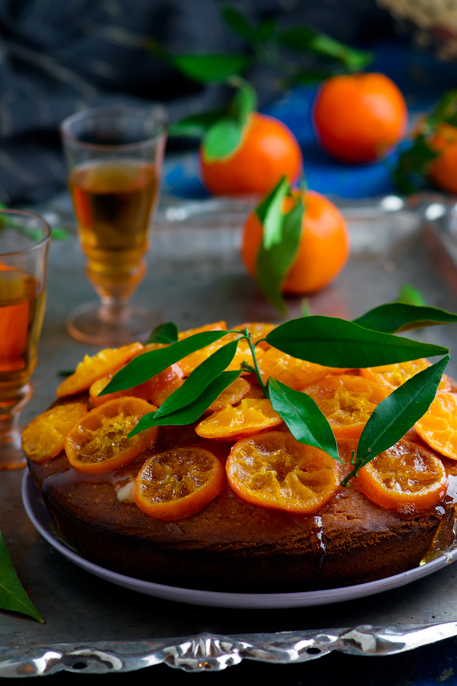 Madeira Cake with Caramelised Tangerines.selective focus
