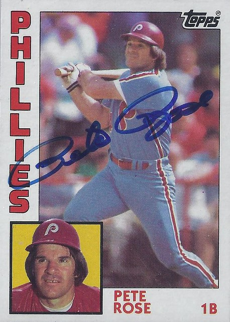 1984 Topps - Pete Rose #300 (First Base) - Autographed Baseball Card (Philadelphia Phillies)