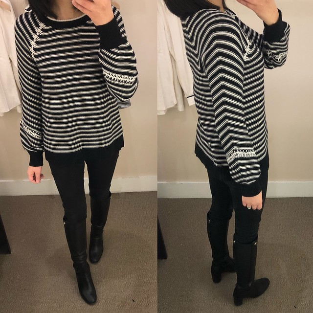 LOFT Striped Whipstitched Sweater, size XS regular