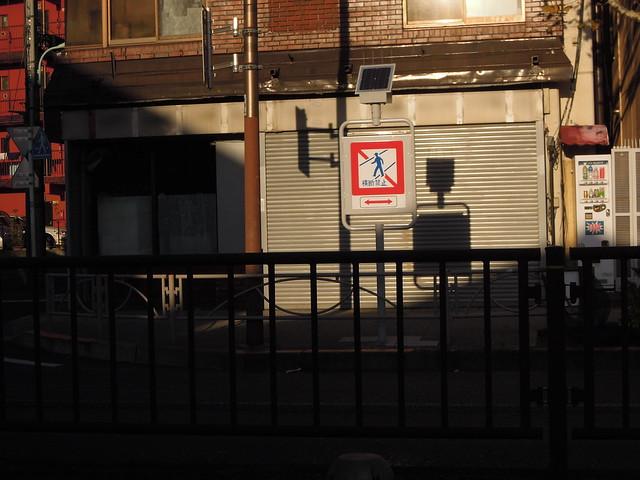 標識 横断禁止 西日 R254