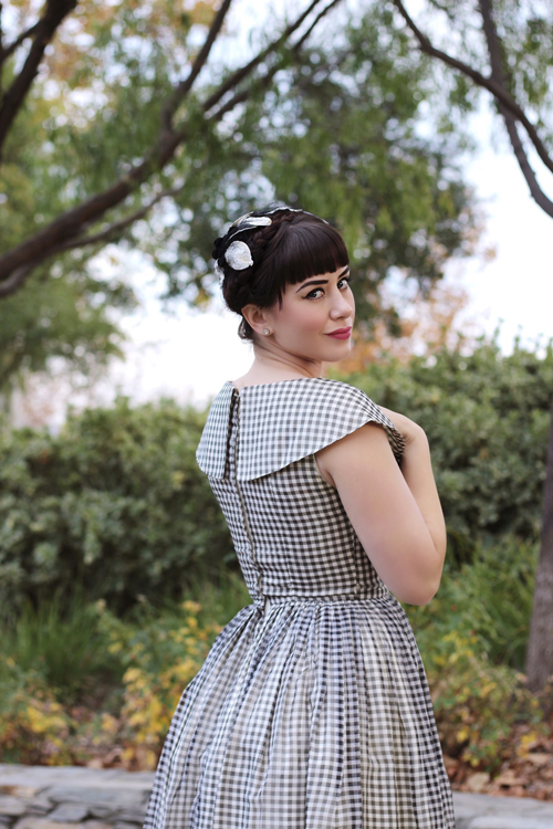 Vintage 50s Black and White Check Gingham Chiffon Party Dress
