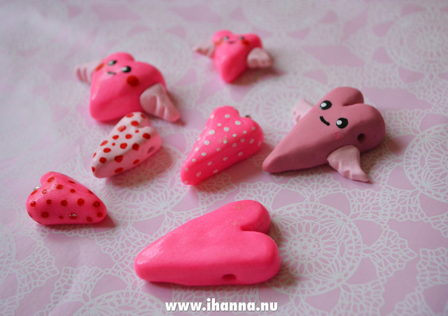 Pile of clay Kawaii Hearts made by iHanna