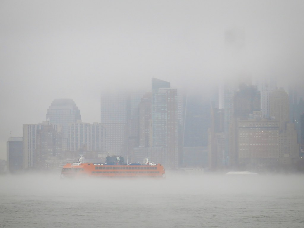 Foggy Manhattan as seen from Governors Island