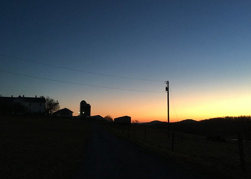 dawn sunrise farm silhouette sky