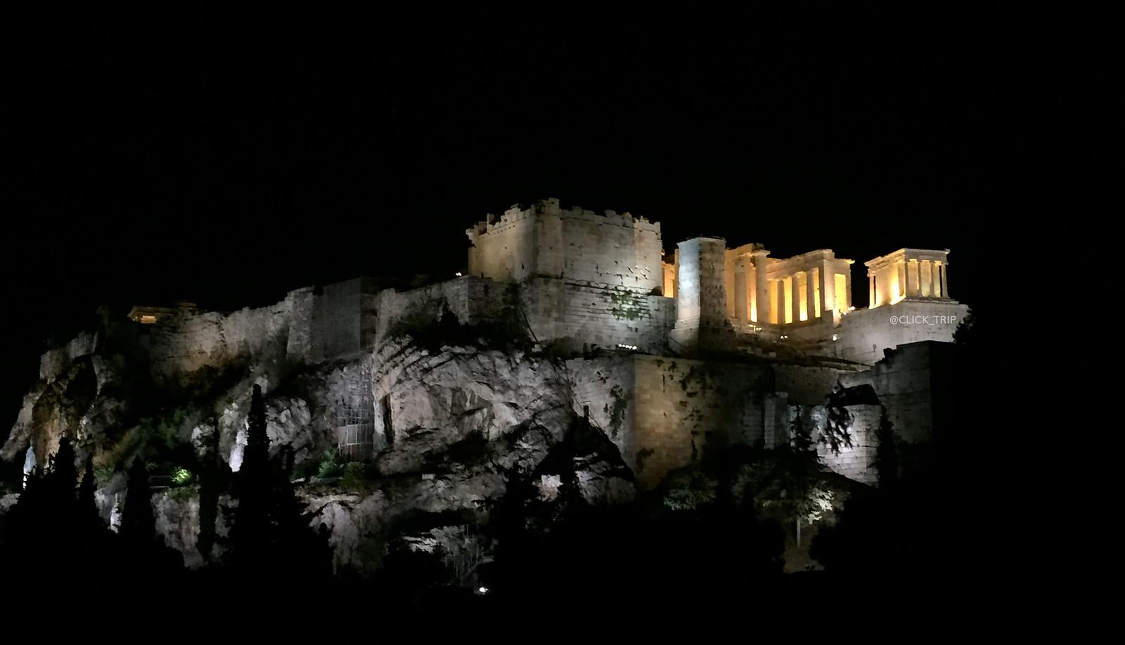 · Qué ver en Atenas · Vista nocturna de la Acrópolis, Atenas ·