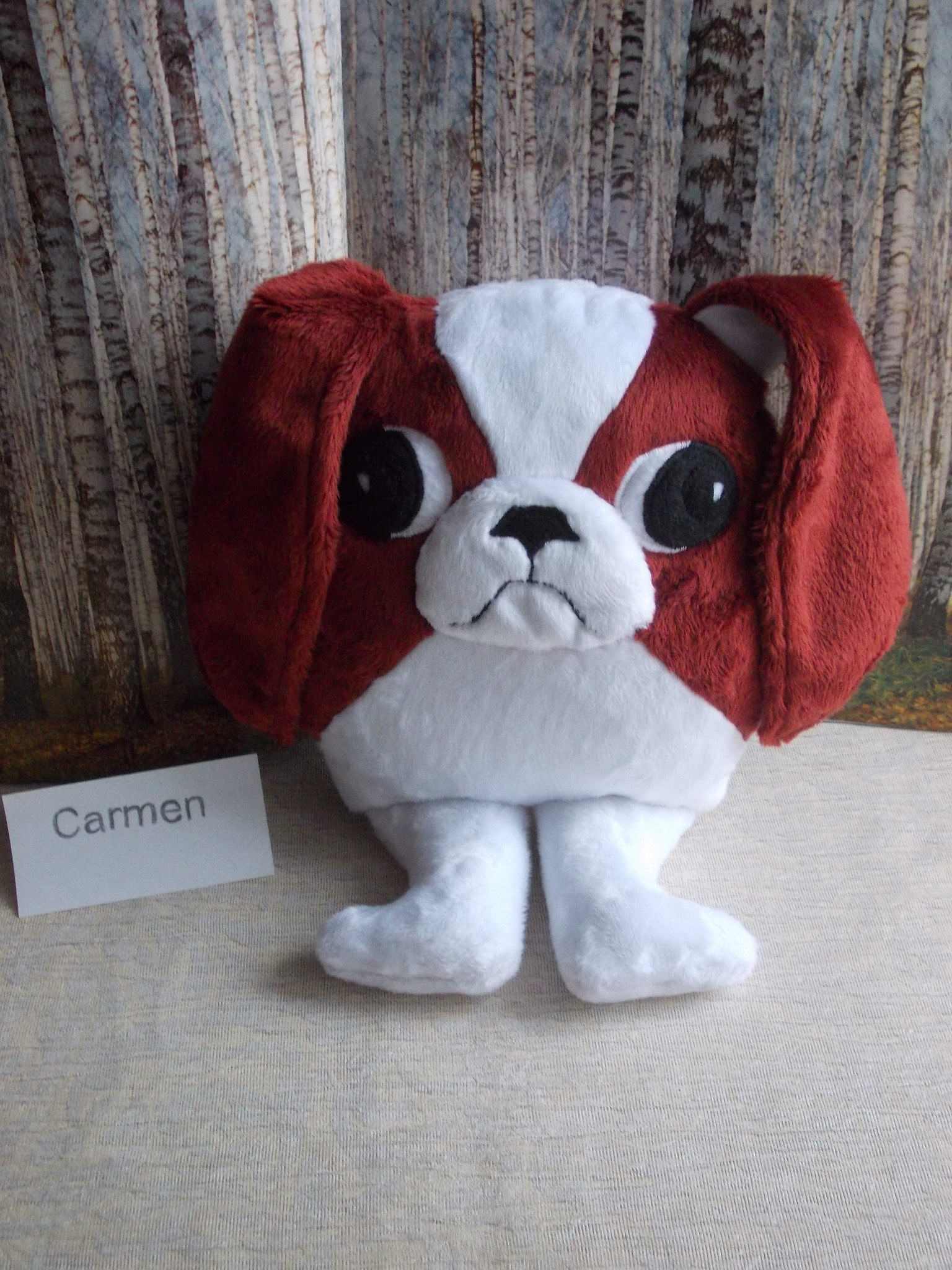 stuffed animal red white japanese chin dog plush toy Carmen name_9