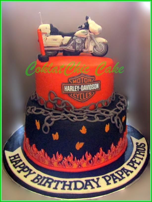 Cake Harley Davidson PAPA PETRUS 18 cm dan 12 cm