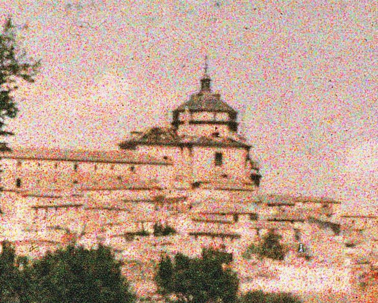 Hospital Tavera desde la playa de Safont en mayo de 1914. Autocromo de Manuel Amuriza López (detalle)