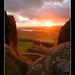 Tittesworth Reservoir from Hen Cloud at sunset