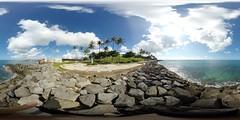 Near the Hopeful Traveler sculpture at the Kaka'ako Waterfront Park in Honolulu -a 360 equirectangular VR