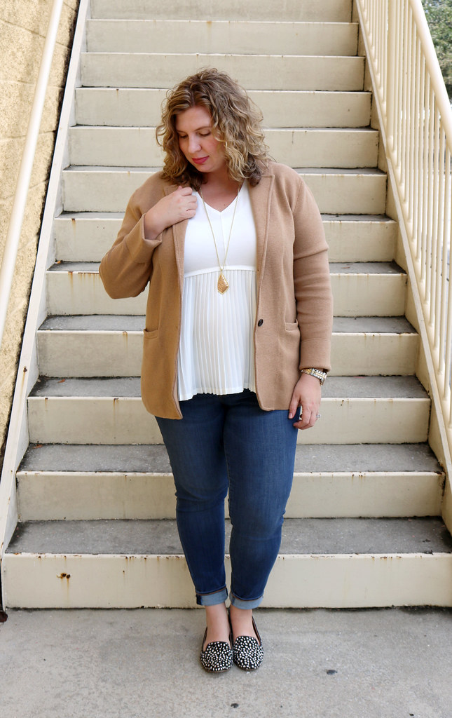 tan sweater blazer, cream peplum top, skinny jeans, black and white polka dot loafers 7