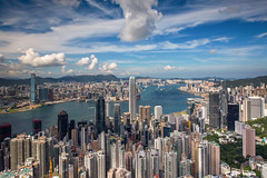 Cityscape of Hongkong city skyline from Victoria peak view point
