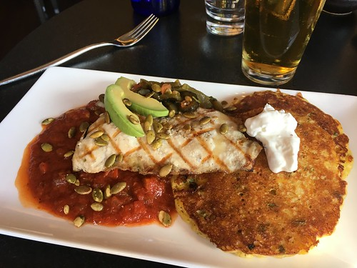 Sturgeon and corn pancake at Pacific Catch in San Mateo, CA