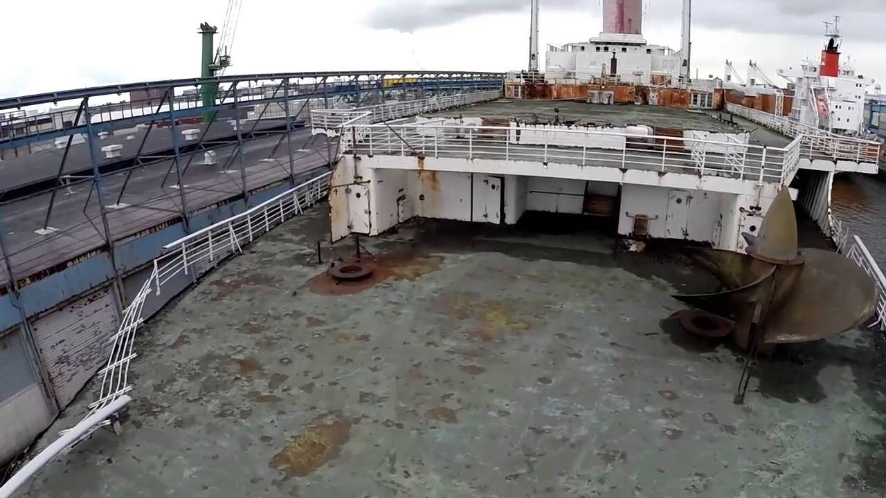 Deteriorating stern decks of SS United States, circa 2013.