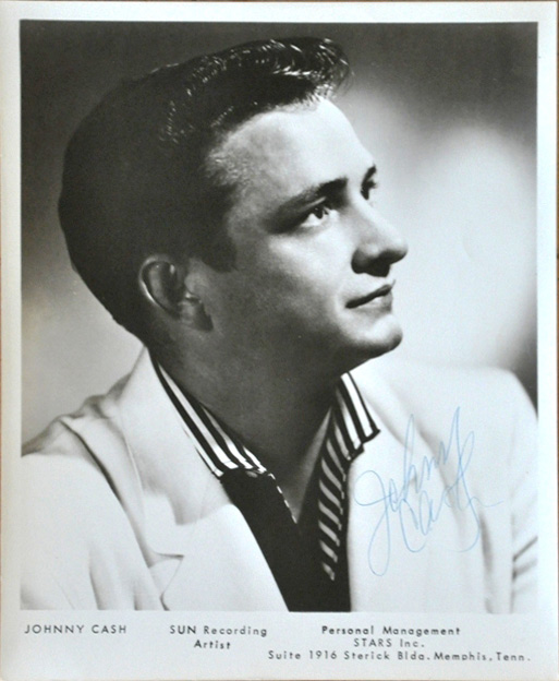 Sun Records promotional photo of Johnny Cash, 1955.