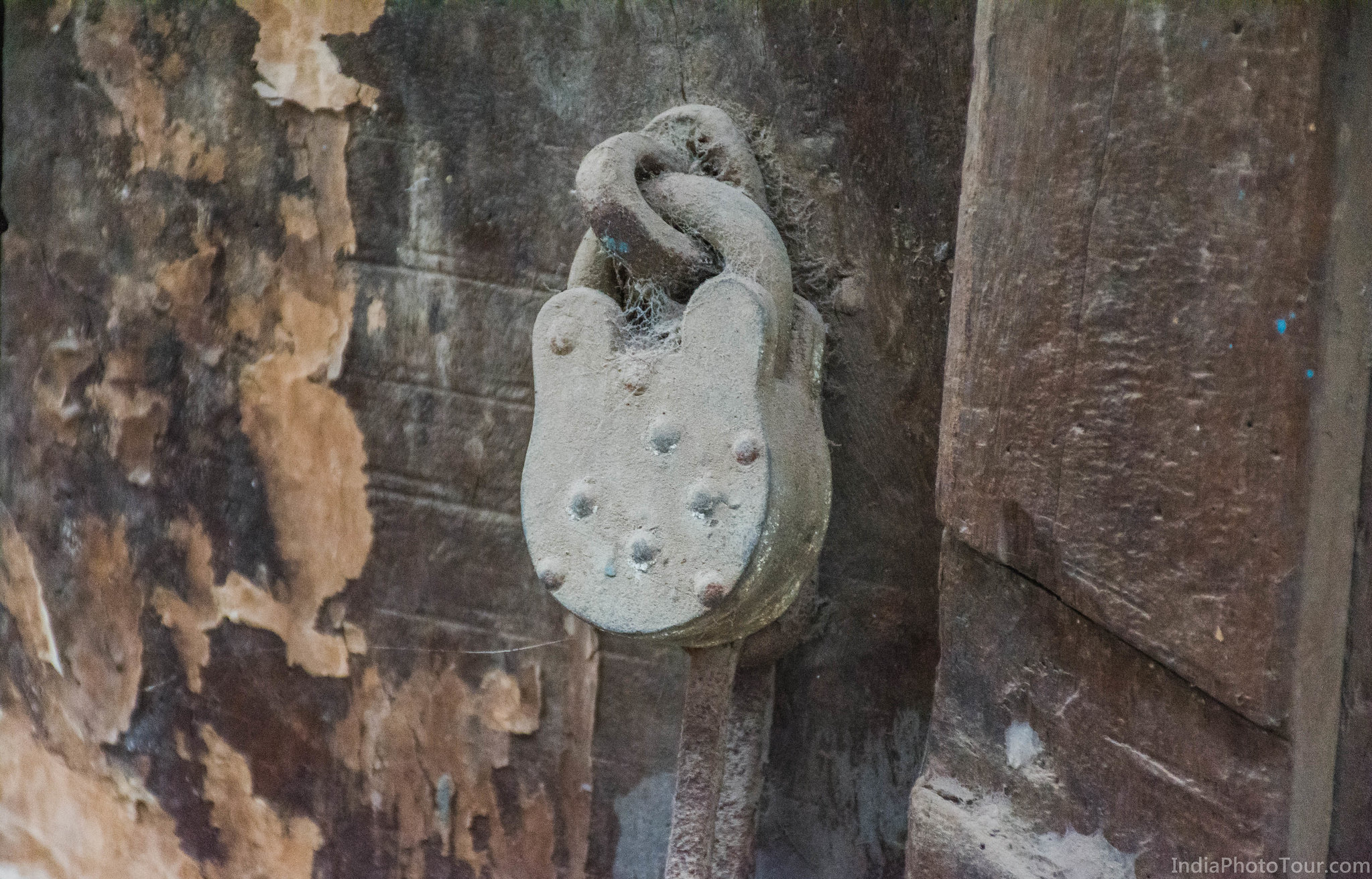 This lock on a old door has not been touched in years