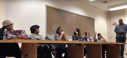 Screenshot of video shot by Edward Milton of Advisory Neighborhood Commission 5D 1/22/2018 special meeting to elect officers. Commissioners Kathy Henderson, James Butler, and Peta-Gay Lewis vote in favor of electing Kathy Henderson as Chair.