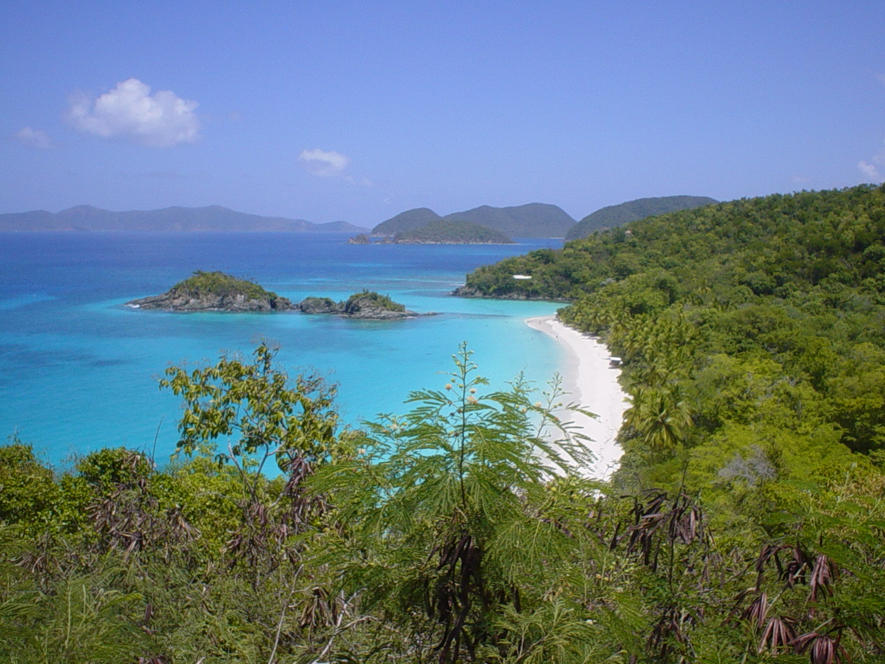 Trunk Bay on St. John, claimed by the British but never settled. They effectively abandoned their claim to the island in 1718.