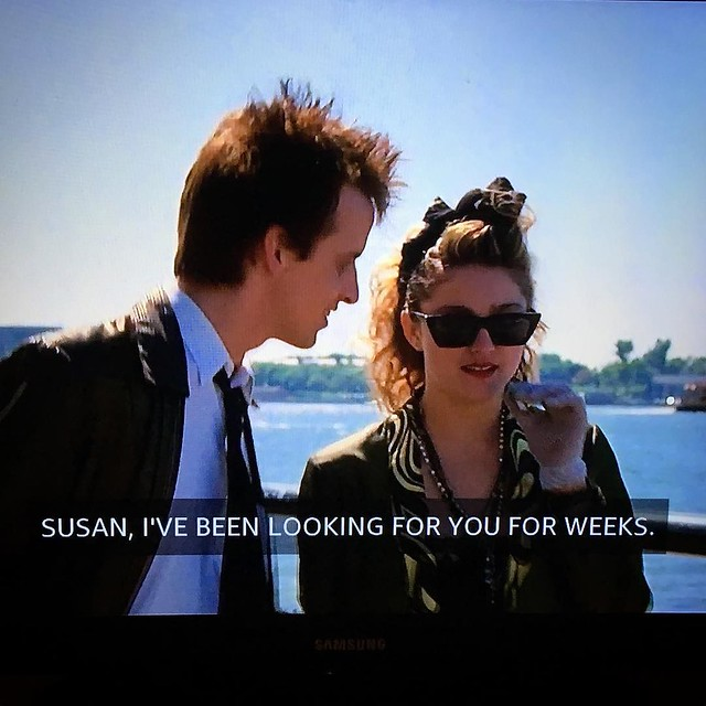 """Today, in Movies That I Watch in 30 Minute Increments Because I Have A Baby: """"Desperately Seeking Susan"""". 😎"""