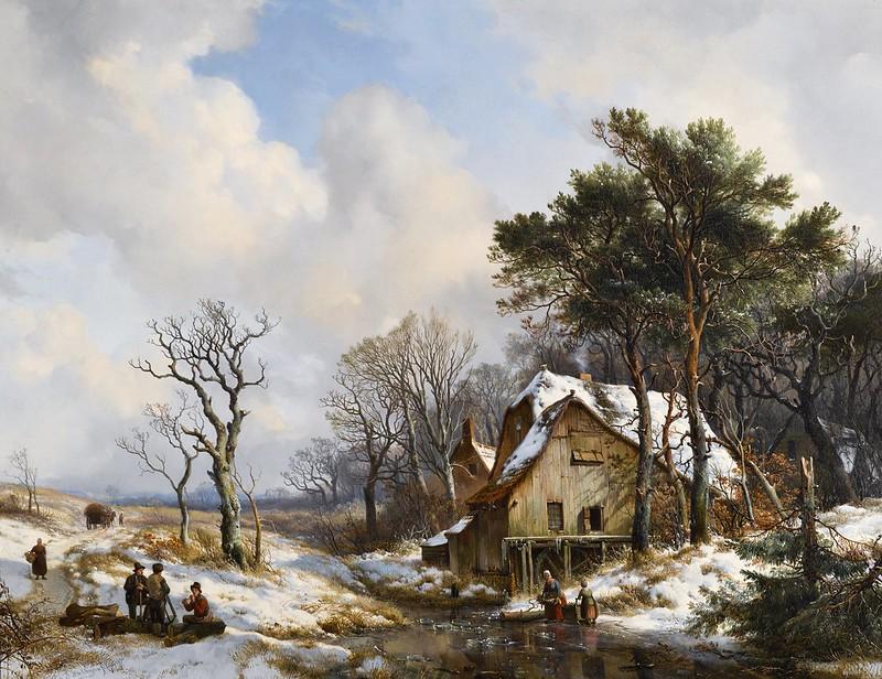 Hendrik van de Sande Bakhuyzen - Skaters on a Frozen Stream on the Outskirts of a Village (1838)