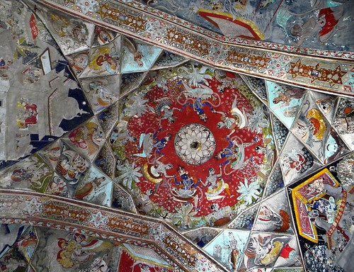 Brightly-painted ceiling in Bundi Fort, India