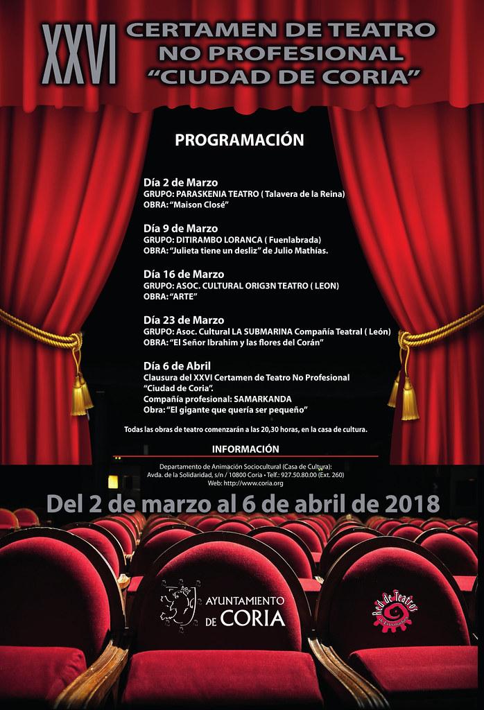 Cartel del XXVI Certamen de Teatro No Profesional