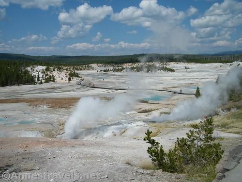 Fumaroles in Porcelain Basin in Yellowstone National Park, Wyoming