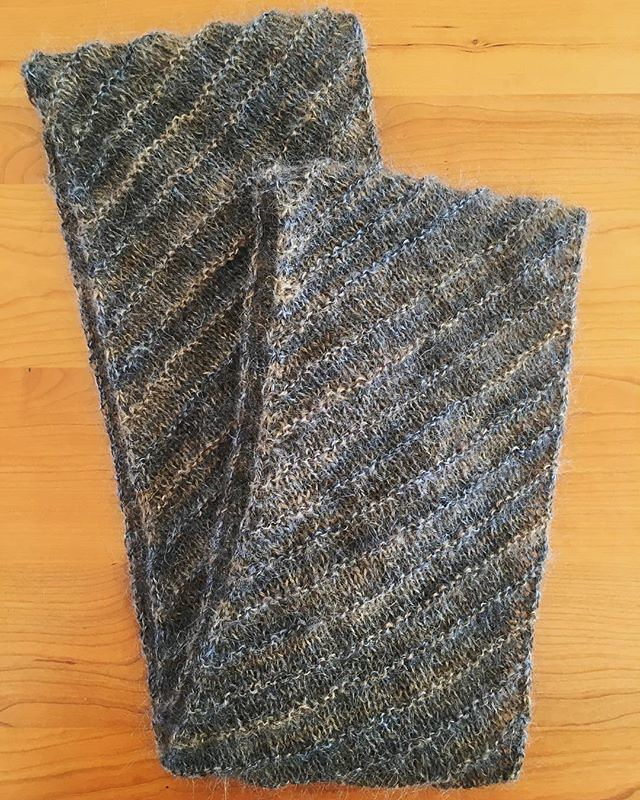 Quick infinity scarf; mystery mohair knit on a bias with periodic garter ridges. Pattern is free on #ravelry and called #totallybiased.