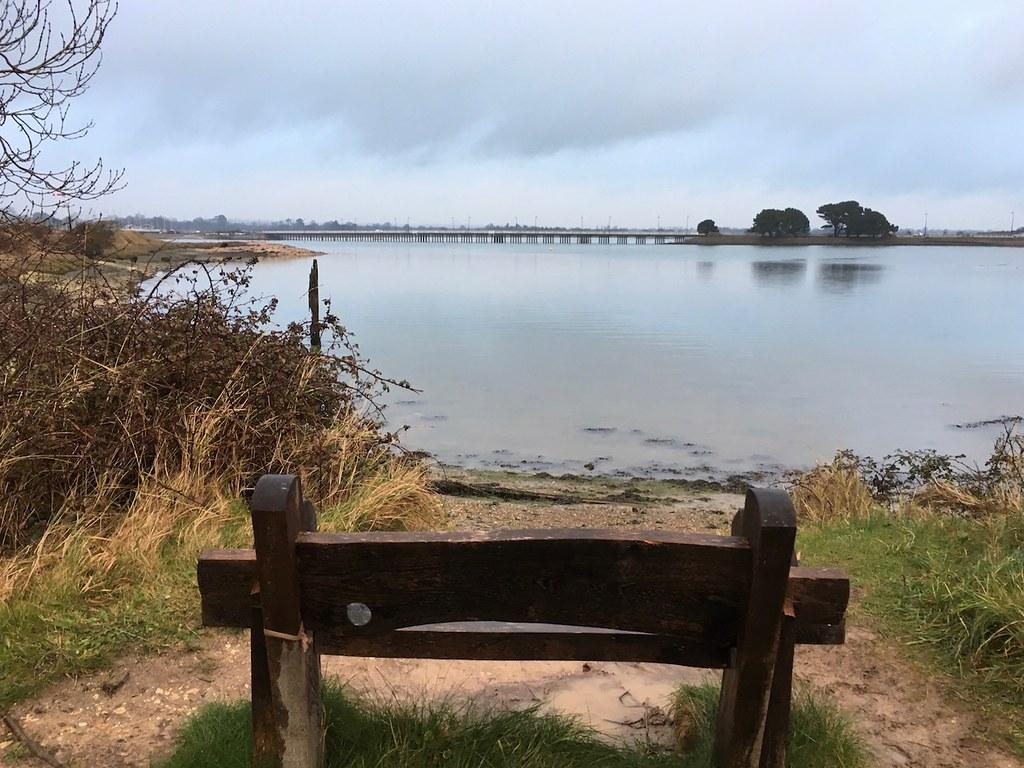 Top of Hayling Island - lagoon and road bridge Portsmouth to Hayling Island walk