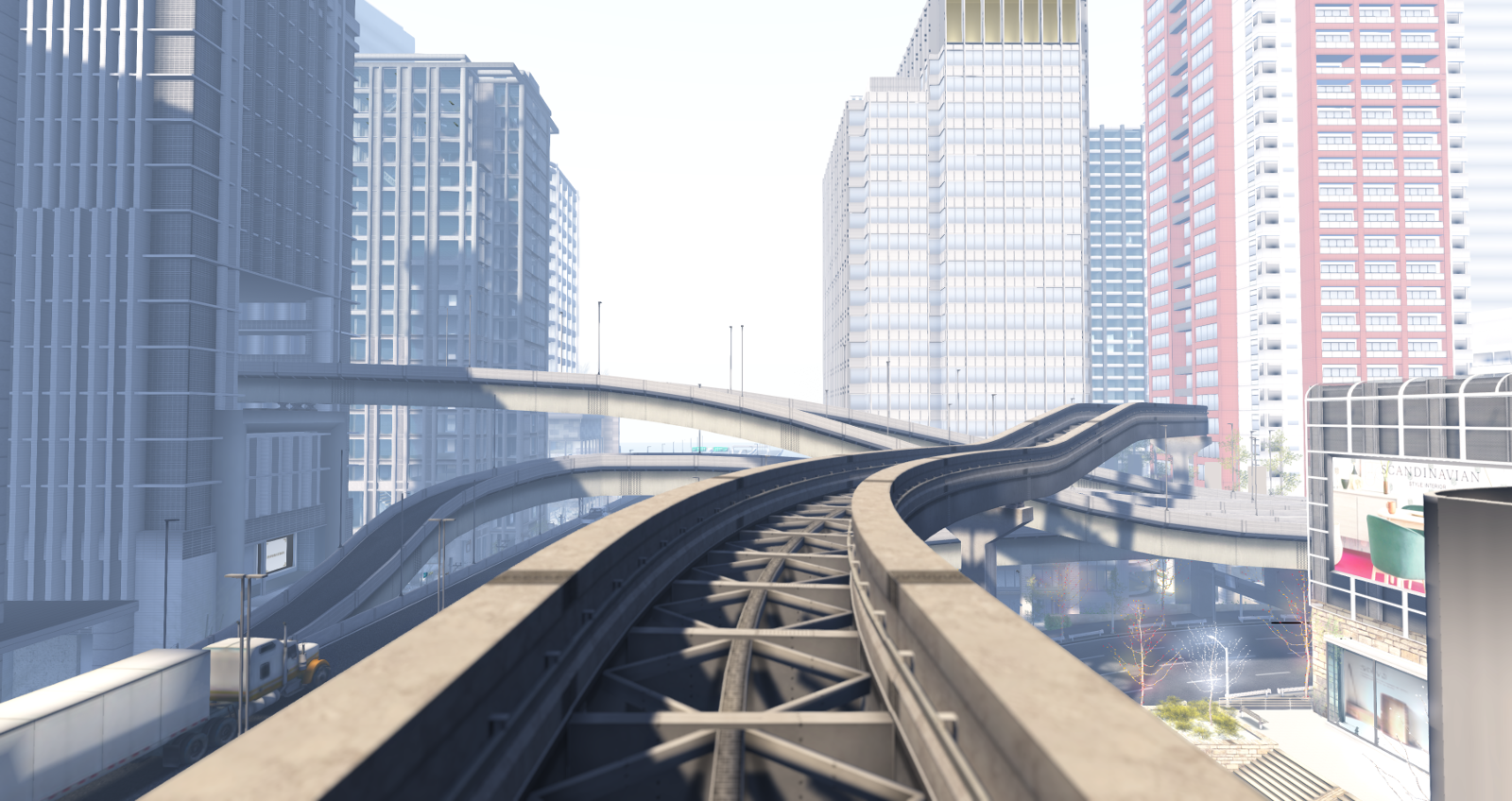 Mopire city: highways and elevated railway