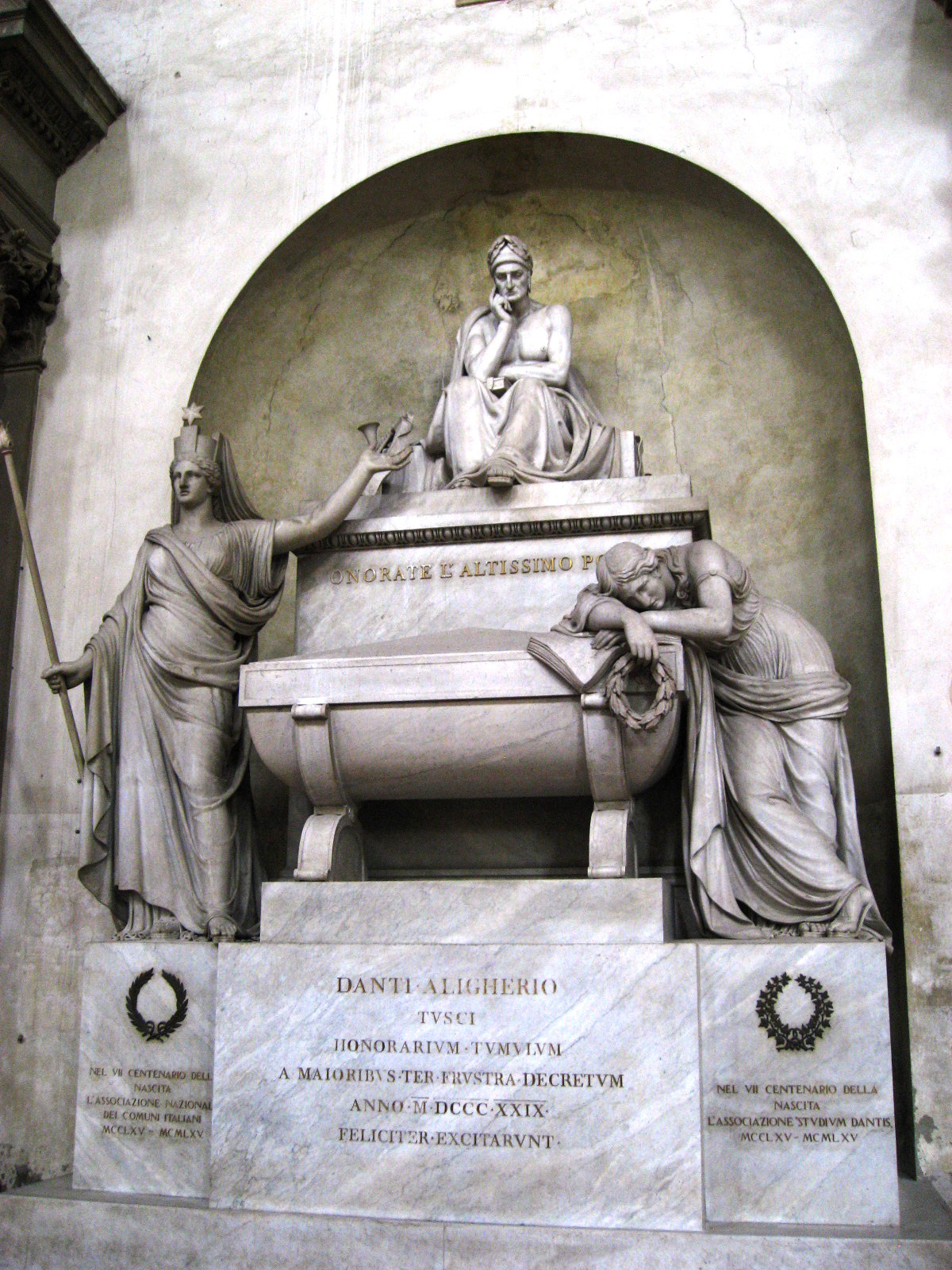 Cenotaph of Dante Alighieri in the Basilica of Santa Croce in Florence. Photo taken on May 1, 2008.