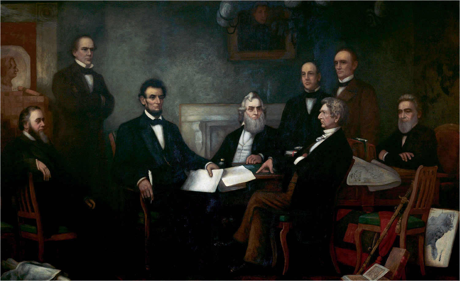 'First Reading of the Emancipation Proclamation by President Lincoln' by Francis Bicknell Carpenter (1830–1900), painted in 1864. Shown from left to right are: Edwin M. Stanton, Secretary of War (seated); Salmon P. Chase, Secretary of the Treasury (standing); Abraham Lincoln, President of the United States; Gideon Welles, Secretary of the Navy (seated); Caleb Blood Smith, Secretary of the Interior (standing); William H. Seward, Secretary of State (seated); Montgomery Blair, Postmaster General (standing); Edward Bates, Attorney General (seated). Also shown are: Andrew Jackson, former President (painting center); Simon Cameron, former Secretary of War (painting left).