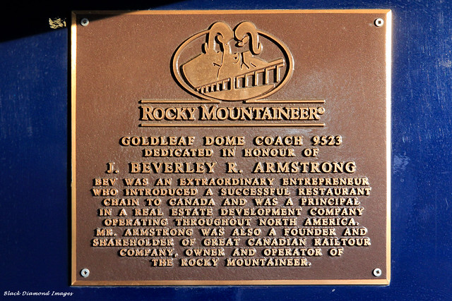 Co-Founder Tribute Plaque on Rocky Mountaineer Train - Departing Vancouver 1st September 2012, British Columbia, Canada