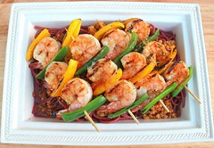 GRILLED SHRIMP AND PEPPERS-BROCHETTE WITH RED WINE-BUCATINI AND PANGRATTATO