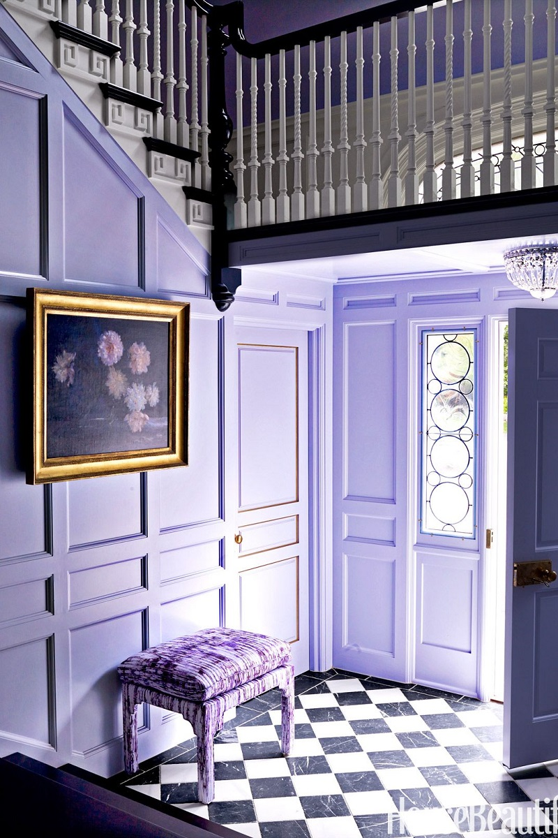 ultra violet decor decorating pantone color of the year 2018 lavender entry way black white tile floor