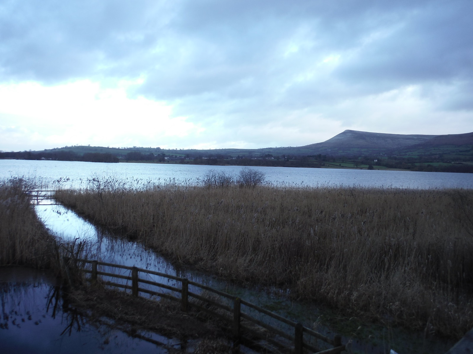 View from Bird Hide on Lake Llangorse SWC Walk 308 - Bwlch Circular (via Mynydd Troed and Llangorse Lake)