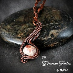 Dragon Vein Note - Agate and Woven Copper Wire Necklace